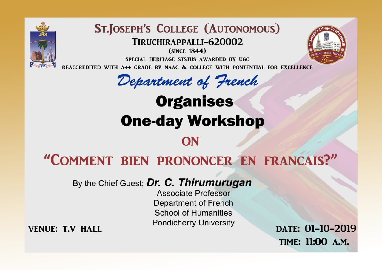 Dept. of French workshop on `Comment bien prononcer en francais`